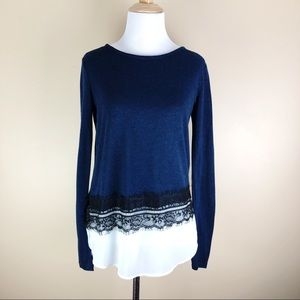 EllenBlue & White Lace Light Weight Sweater XS